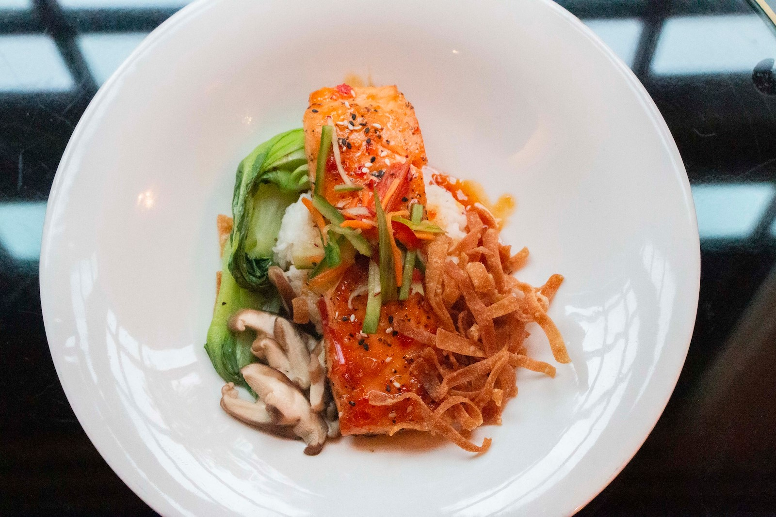 Ginger Sesame Salmon at Park 600 at Royal Park Hotel Restaurant in Rochester Michigan