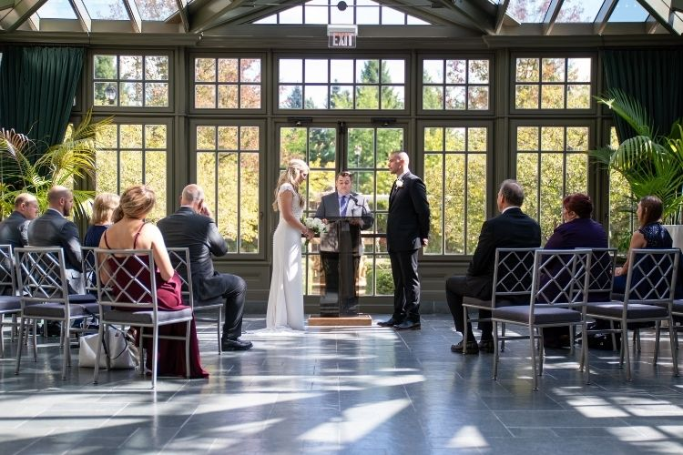 Mini Wedding Ceremony in The Conservatory at Royal Park Hotel in Rochester Michigan